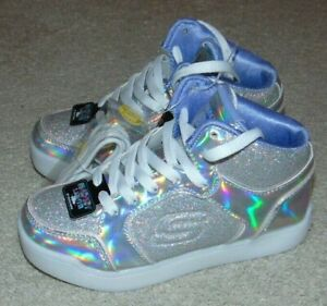 ~NEW Girls SKECHERS Energy Lights Ultra By High Top Sneakers! Size 13 Cute FS:)~