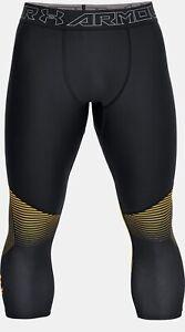 Under Armour Project Rock Men's Vanish Leggings Size S, Black/ Yellow