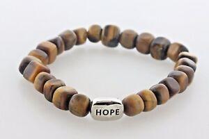 """Stringed Tiger Eye Beads Sterling Silver 925 HOPE Stretchable Bracelet - 6.5"""""""
