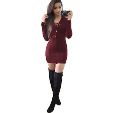 Womens Lace Up Knitted Sweater Shirt  Slim Bodycon Jumper Tunic Short Mini Dress