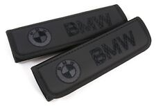 Car Seat Belt Shoulder Pads Covers for BMW Black Leather Embroidery Black Logo