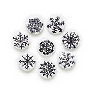 50pcs Snowflake Wood Buttons Handmade Sewing Cloth Scrapbooking Home Decor 15mm