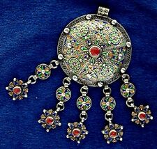 Morocco - Ancient tribal ethnic Berber necklace enamelled silver with pendants