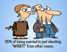 METAL FRIDGE MAGNET Married Shouting What From Other Room Family Friend Humor