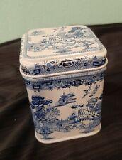 """Collectible White & Blue Willow Design Tea Tin Grumbridge Bedford England 3"""""""