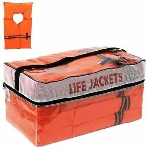 Life Jackets 4 Pack Vest Preserver Type ll Adult Orange Boating Fishing Jacket