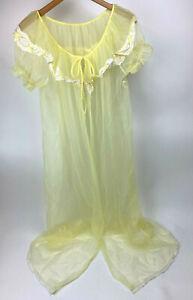 Vtg PALE Yellow CHIFFON Nylon ROBE Peignoir NEGLIGEE Sheer USA Made LACE Sz L