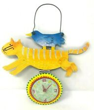 "Judie Bomberger Metal Art Clock ""Together"" Whimsical Cat & Bird"