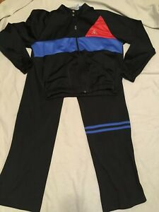 Vtg LE COQ SPORTIF Mens Athletic Jogging Track Suit Warm Up Pants Jacket L Black