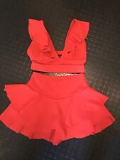 Ladies Xmas Party Outfit Red Frill Ruffle Shorts Crop Top Size 10/12 Worn Once