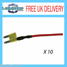 X 10 MFS20A 20 AMP MINI SPUR BLADE FUSE LEAD CABLE FOR CAR VAN BUS VEHICLE