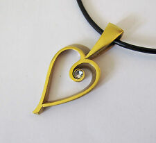 24K Gold Filled Handcrafted Beautiful Heart Pendant Leather Cord Wedding Bride