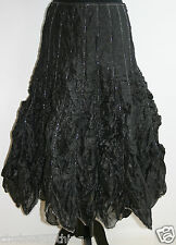 "NEW RONIT ZILKHA Evening Skirt £995 UK8/S Long Black Ballroom L30"" Beads Ruched"