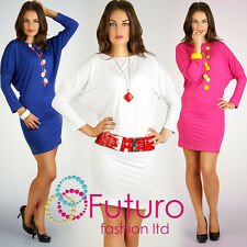 Amazing & Trendy BAT Style Dress Plain Tunic Bodycon Sizes 8 - 18 FT966