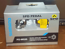 SHIMANO PD-M520 MTB BIKE SPD PEDALS - SILVER With Cleats