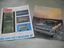1973 FORD PICKUP TRUCK BROCHURE, SALES CATALOG -- 2 DIFFERENT for ONE LOW PRICE!