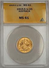 1915 Australia 1/2 Half Sovereign Gold Coin ANACS MS-61
