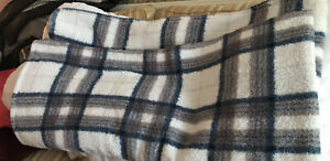 Berkshire Blanket Queen Sherpa Fleece  Beige Blue Mauve 92x96