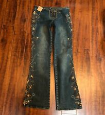 PRISTINE USA JEANS 3/4 S BoHo Hippie Festival Embroidered Low Rise Stretch Jeans