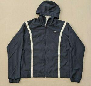 Vtg Nike Y2K Silver Tag Full Zip Jacket Hooded Windbreaker Navy/White Boy's M