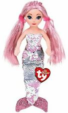 """TY CORA Pink Silver SEQUIN MERMAID 18"""" 45cm SOFT TOY"""