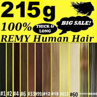 """22"""" THICK DELUXE CLIP IN REMY HUMAN HAIR EXTENSIONS Brown Blonde Black"""