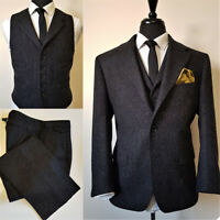 Black Men Suits Wool Blend Notch Lapel Formal Business Tuxedos Blazer Pants