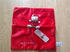 NEW Mothercare MY FIRST CHRISTMAS TEDDY BEAR Red Comfort Blanket/Comforter x2