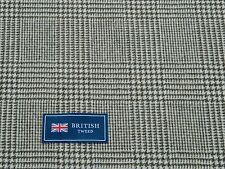 100% WOOL TWEED FABRIC, BROWN/WHITE GLEN CHECK DESIGN - MADE IN ENGLAND
