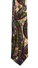 Men's New Silk Neck Tie, Wide Purple Green floral design by Pour Monsieur