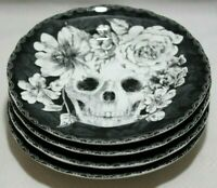 222 Fifth Marbella Skull Halloween Porcelain B&W Salad Plates Set of Four New