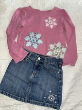 Gymboree Snowflake two piece outfit size 6 applique embroidered