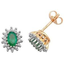 Diamond Cluster Yellow Gold Fine Gemstone Earrings
