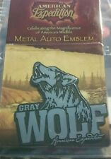 American Expedition Gray Wolf - CHROME METAL AUTO EMBLEM - Peel & Stick Tailgate