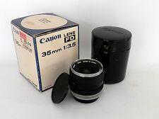 Canon 35 mm F3.5 FD Mount con custodia in pelle e Scatola:: GRATIS UK:: #1303