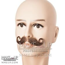 French Brown Handlebar Mustache Hair Makeup stage Theatrical costume Curly curl