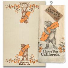 New 2 pcs I Love You California Bear & Poppy Cotton Tea Towel Beige gift