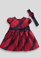 NEW INFANT BABY GIRL'S CHECK TARTAN PARTY DRESS WITH BOW HEADBAND OUTFIT GIFT