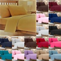 Plain Dyed Easy Care PolyCotton SHEET SET ( Fitted Flat PillowCase) Bedding Set