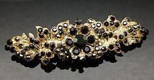 DARK BLACK Wedding Gold Crystal Hair Comb Clip Barrette Bridal Formal 7cm