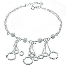 Genuine 925 Silver Plated Dull Silver Beads and Rings Anklet Girl Party TI00068