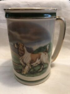 Hyalyn Mug Dog And Bird Gold Trim