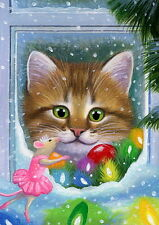 Kitten cat mouse Sugar Plum Fairy Christmas window OE aceo print of painting