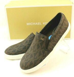 New MICHAEL KORS 7.5 M Boerum MK Signature PVC Womens Fashion Slip-On MSRP $130