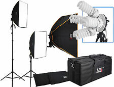 2800W Twin Softbox 8 Fluorescent Bulb Daylight Continuous Lighting & Padded Bag