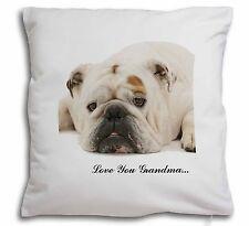 Bulldog 'Love You Grandma' Sentiment Soft Velvet Feel Cushion Cov, AD-BU6lyg-CPW