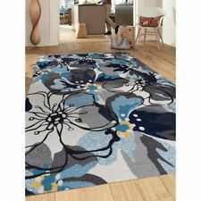 Throw Rug Floral Contemporary Living Room Dining Big Area Floor Mat Grey Blue