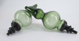 Pottery Barn Turned Glass Curtain Rod Finials Lichen Green Set of 2