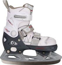 Ice Hockey Skates Nijdam Junior Semi-Soft Boot Adjustable White Grey 37-40 4.5-6