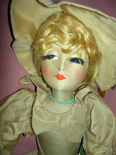 "RARE antique cloth ""Blossom"" boudoir bed doll ~all orig., real eyelashes, xlnt."